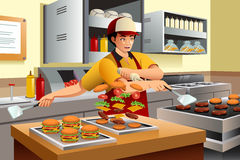 Man Cooking Burgers vector illustration