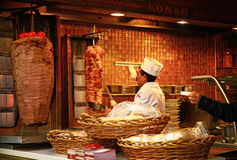 Man cooking a doner kebab at the Istiklal Street in Istanbul. Stock Image