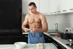 Man is cooking dumplings. Royalty Free Stock Images
