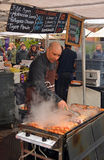 Man Cooking Kebabs at The Rocks Saturday Morning Market Royalty Free Stock Photos