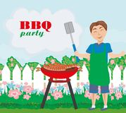 Man Cooking meat on Grill - invitation to the party. Vector Illustration royalty free illustration