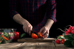 Man cooking a salad of fresh vegetables Stock Photo
