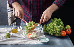 Man cooking salad In the home kitchen Royalty Free Stock Photography