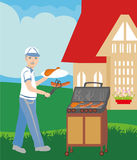 Man Cooking Sausages on Grill Royalty Free Stock Photo