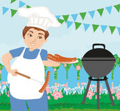 Man Cooking Sausages on Grill. Vector Illustration Stock Photography