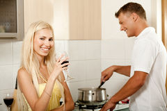 Man cooking and smiling Stock Photo