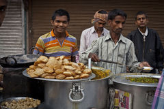 Man cooking street food in India Stock Photos