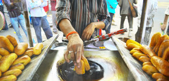 Man cooking on the street in Jaipur Royalty Free Stock Image
