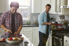 Man cooking turns to boyfriend, who is chopping ingredients Stock Image