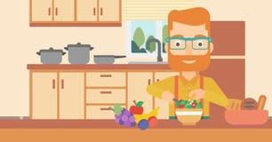 Man cooking vegetable salad. Stock Image