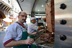 Man cooks and sells traditional kebab Stock Photo