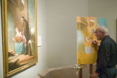 Man copies painting in Museum de Prado, Prado Museum, Madrid, Spain Royalty Free Stock Photos