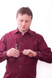 Man with corkscrew Stock Image