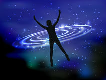 Man and cosme. The concept of communication. With the higher mind. Fate. Silhouette of a girl falling into outer space. Space strings. Waves of light. Vector Royalty Free Stock Photography