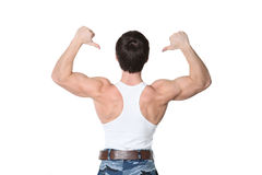Man costs a back forward Stock Photo