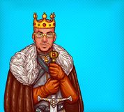 Man in costume of king of the north pop art stock illustration