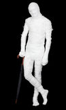 Man in costume mummy and umbrella Royalty Free Stock Images