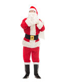 Man in costume of santa claus with bag Royalty Free Stock Photos