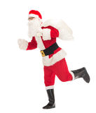 Man in costume of santa claus with bag Stock Photo