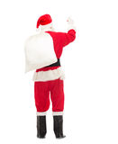 Man in costume of santa claus with bag Stock Photography