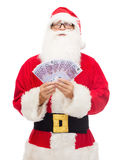Man in costume of santa claus with euro money Stock Photo