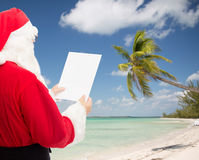 Man in costume of santa claus with letter Royalty Free Stock Photos