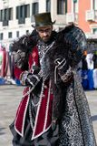 Man in costume at Venice carneval 2018, Italy stock photo