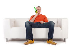 Man on couch royalty free stock image