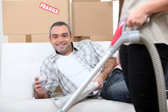 Man on a couch stock photo