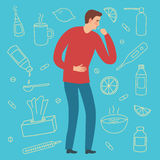 Man with a cough. Cold and flu symptom. Including doodle treatment elements on background, such as pills, syrups, food. Hand drawn health-care illustration for Stock Photos