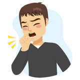 Man Coughing. Illustration of young man coughing with fist in front of mouth Royalty Free Stock Photos