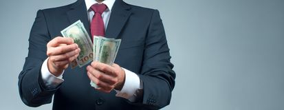 Man count money cash in his hand.  Finance and salary concept. Businessman count money cash in his hand. Finance, saving, salary and donate concept Stock Photo
