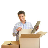 Man counting boxes Royalty Free Stock Images