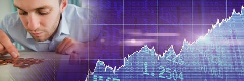 Man counting coins with purple finance graph transition. Digital composite of Man counting coins with purple finance graph transition Royalty Free Stock Image