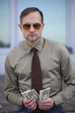Man counting the money Stock Images