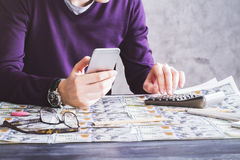 Man counting on money Stock Images