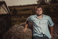Man in country in summer day Royalty Free Stock Image
