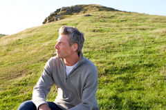 Man in countryside relaxing Royalty Free Stock Photography