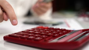 Man Counts Dollars. Accountant Man With Calculator Counts Dollars. Banking Concept. Close Up stock video footage