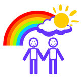 Man couple and rainbow Royalty Free Stock Images