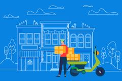 Man Courier Character Bring Box Parcel to Address. Motorcycle Fast Delivery Service. Man Courier Character Bring Box Parcel to Address on Outline Street Building vector illustration