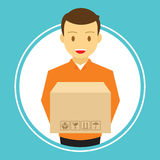 Man courier delivery service carry box. Vector illustration Stock Photo
