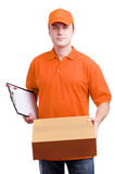 Man courier in orange Royalty Free Stock Photo