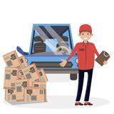 Man courier of the shipping delivery service on the car. Character vector flat illustration people. Royalty Free Stock Image