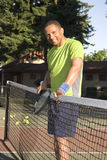 Man on Court Playing Tennis Royalty Free Stock Image