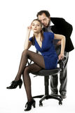 Man courting a girl. Mature man courting a girl who sits imposingly position Royalty Free Stock Image