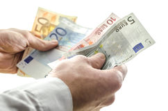 Man couting money banknotes Royalty Free Stock Photo