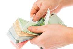 Man couting money Stock Photos