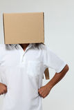 Man  cover with box Royalty Free Stock Photo