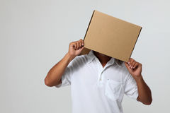 Man  cover with box Stock Image